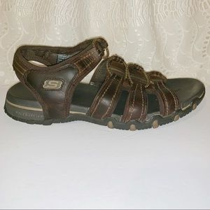 Skechers brown leather open toe sandals size 8